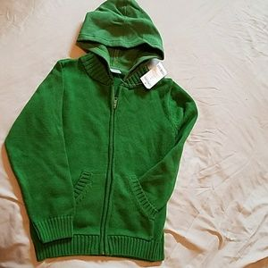 NWT GYMBOREE GREEN ZIP UP HOODED SWEATER (sz 6)